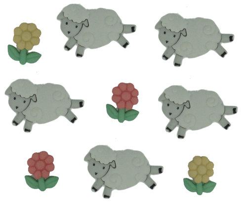 Пуговицы декоративные Dress It Up Овечки, 9 шт. 77020527702052Набор Dress It Up Овечки состоит из 9 декоративных пуговиц, выполненных из пластика в форме овец и цветков. Такие пуговицы подходят для любых видов творчества: скрапбукинга, декорирования, шитья, изготовления кукол, а также для оформления одежды. С их помощью вы сможете украсить открытку, фотографию, альбом, подарок и другие предметы ручной работы. Пуговицы разных цветов имеют оригинальный и яркий дизайн.