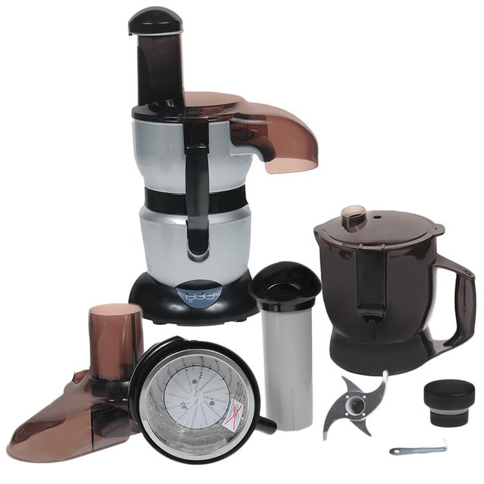 Комбайн кухонный, многофункциональный ШЕФ-ПОВАР BradexTD 0060Мощный мотор кухонного комбайна Шеф-повар всего за несколько секунд качественно раздробит, размельчит, порежет на кусочки и смешает необходимые продукты. Широкое отверстие специально предназнеченно для удобства погружения в комбайн овощей и фруктов, а разные по назначению ножи, имеющиеся в системе комбайна, размельчат кофе, лёд и орехи, нарежут мясо, сыр, лук, а также, используя Шеф-повар, Вы сможете приготовить пюре и даже замесить тесто! Процесс готовки при наличие такого многофункционального кухонного комбайна значительно ускорится, и за короткий период времени Вы успеете сделать несколько разных блюд или напитков вместо одного. Комбайн Шеф-повар работает от электросети, не требует особого ухода и будет аккуратно смотреться даже на небольшой кухне. Комплектация: блендер, комбайн, соковыжималка, миксер, инструкция. Материал: металл, пластик. Мощность: 700Ватт Работает от сети 220 - 240 В.