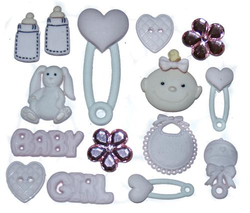 Набор пуговиц и фигурок Dress It Up Малышка, 15 шт. 77020607702060Набор Dress It Up Малышка состоит из 15 декоративных пуговиц и фигурок, выполненных из пластика в форме вещей, с которыми ассоциируется появление ребенка. Такие пуговицы и фигурки подходят для любых видов творчества: скрапбукинга, декорирования, шитья, изготовления кукол, а также для оформления одежды. С их помощью вы сможете украсить открытку, фотографию, альбом, подарок и другие предметы ручной работы. Пуговицы и фигурки разных цветов имеют оригинальный и яркий дизайн.