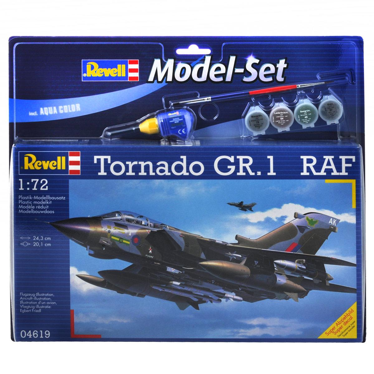 Набор для сборки и раскрашивания модели Revell Самолет Tornado GR.1 RAF64619С помощью набора Revell Самолет Tornado GR.1 RAF вы и ваш ребенок сможете собрать уменьшенную копию одноименного самолета и раскрасить ее. Набор включает в себя 198 пластиковых элементов для сборки модели, краски четырех цветов, клей, двустороннюю кисточку и схематичную инструкцию по сборке. Благодаря набору ваш ребенок научится различать цвета, творчески решать поставленные задачи, разовьет интеллектуальные и инструментальные способности, воображение, конструктивное мышление, внимание, терпение и кругозор. Уровень сложности: 4.