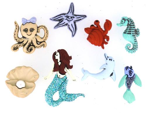 Пуговицы декоративные Dress It Up Русалка, 6 шт7702098Набор Dress It Up Русалка состоит из 6 пуговиц, выполненных из пластика в виде русалки и других морских обитателей. Такие изделия подходят для любых видов творчества: скрапбукинга, декорирования, шитья, изготовления кукол, а также для оформления одежды. С их помощью вы сможете украсить открытку, фотографию, альбом, подарок и другие предметы ручной работы.