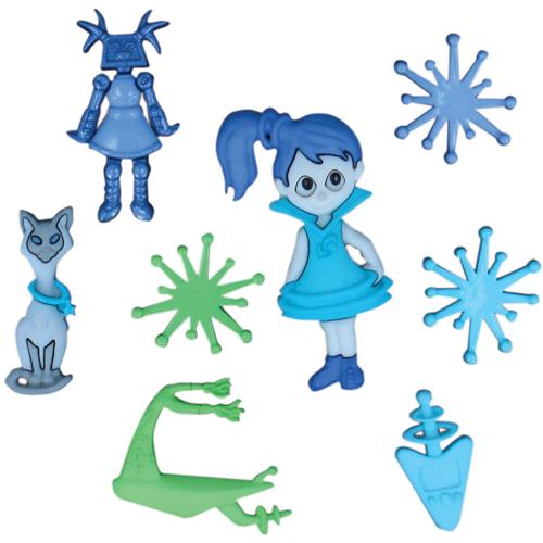 Пуговицы декоративные Dress It Up Космическая девочка, 8 шт. 77020997702099Набор Dress It Up Космическая девочка состоит из 8 декоративных пуговиц, выполненных из пластика в форме девочки, космического корабля, звезд, кошки и робота. Такие пуговицы подходят для любых видов творчества: скрапбукинга, декорирования, шитья, изготовления кукол, а также для оформления одежды. С их помощью вы сможете украсить открытку, фотографию, альбом, подарок и другие предметы ручной работы. Пуговицы разных цветов имеют оригинальный и яркий дизайн.