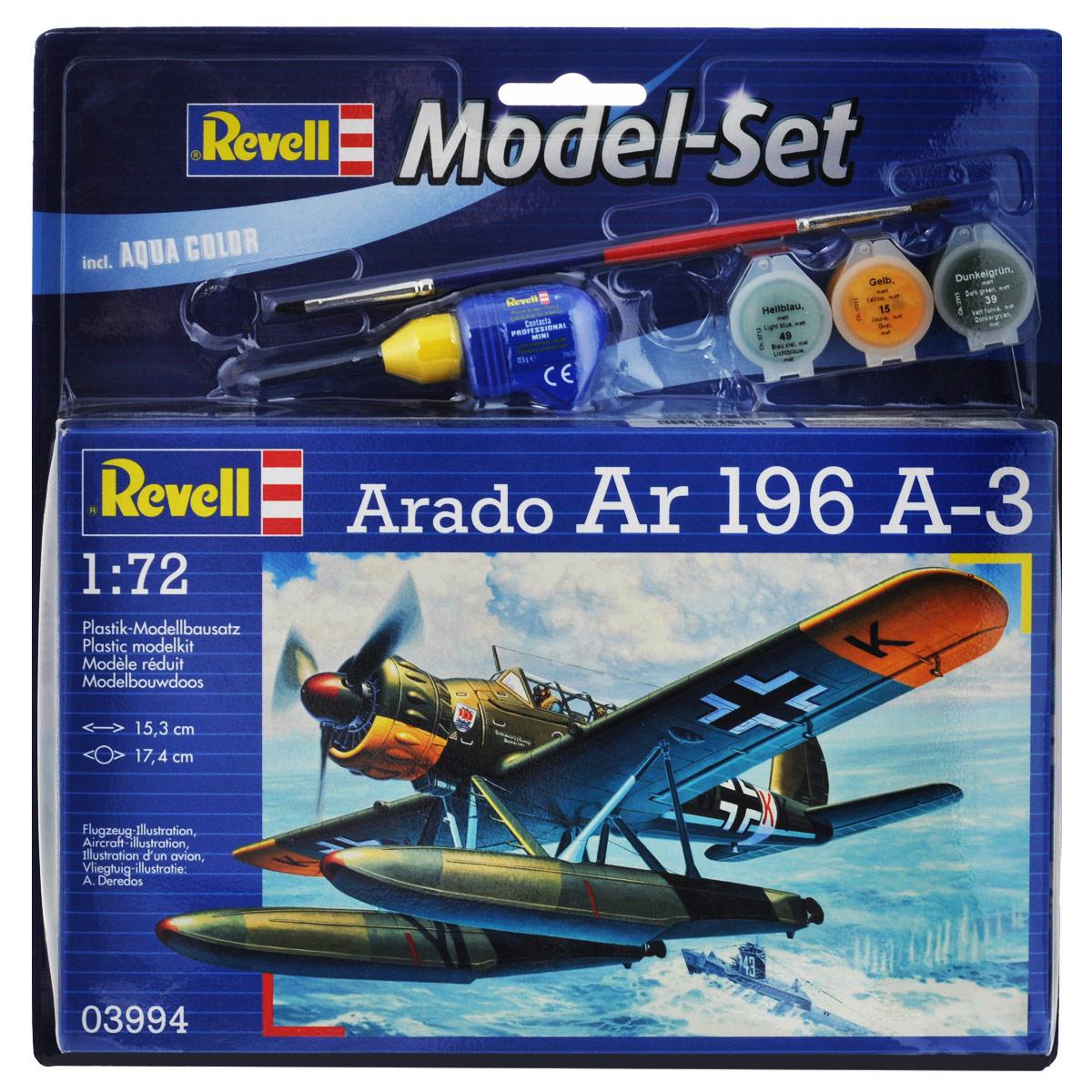 Набор для сборки и раскрашивания модели Revell Гидросамолет-разведчик Арадо Ar 196 A-363994С помощью набора Revell Гидросамолет-разведчик Арадо Ar 196 A-3 вы и ваш ребенок сможете собрать уменьшенную копию одноименного немецкого одномоторного разведчика и раскрасить ее. Набор включает в себя 43 пластиковых элемента для сборки модели, краски трех цветов, клей, двустороннюю кисточку и схематичную инструкцию по сборке. Благодаря набору ваш ребенок научится различать цвета, творчески решать поставленные задачи, разовьет интеллектуальные и инструментальные способности, воображение, конструктивное мышление, внимание, терпение и кругозор. Уровень сложности: 3.