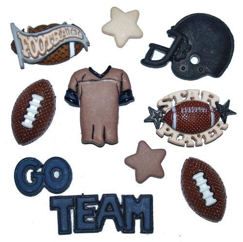 Набор пуговиц и фигурок Dress It Up Футбол, 10 шт. 77021367702136Набор Dress It Up Футбол состоит из 10 декоративных пуговиц и фигурок, выполненных из пластика в форме вещей, с которым ассоциируется игра в американский футбол. Такие пуговицы подходят для любых видов творчества: скрапбукинга, декорирования, шитья, изготовления кукол, а также для оформления одежды. С их помощью вы сможете украсить открытку, фотографию, альбом, подарок и другие предметы ручной работы. Пуговицы разных цветов имеют оригинальный и яркий дизайн.