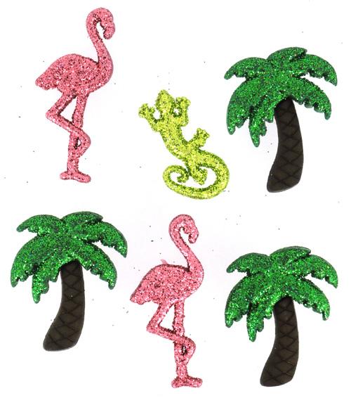 Набор пуговиц и фигурок Dress It Up Блестящий фламинго, 6 шт. 77022507702250Набор Dress It Up Блестящий фламинго состоит из 6 декоративных разноцветных пуговиц и фигурок, изготовленных из пластика, с помощью которых вы сможете украсить открытку, фотографию, альбом, одежду, подарок и другие предметы ручной работы. Все предметы в наборе имеют оригинальный и яркий дизайн и украшены блестками.