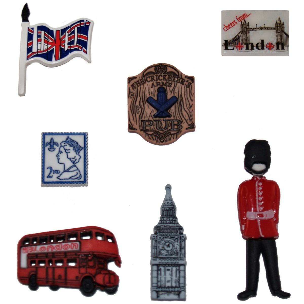 Набор пуговиц и фигурок Dress It Up Англия, 7 шт. 77022637702263Набор Dress It Up Англия состоит из 7 декоративных пуговиц и фигурок, выполненных из пластика в форме вещей, с которыми ассоциируется Англия. Такие пуговицы и фигурки подходят для любых видов творчества: скрапбукинга, декорирования, шитья, изготовления кукол, а также для оформления одежды. С их помощью вы сможете украсить открытку, фотографию, альбом, подарок и другие предметы ручной работы. Пуговицы и фигурки разных цветов имеют оригинальный и яркий дизайн.