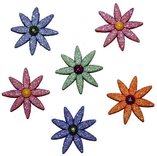 Пуговицы декоративные Dress It Up Цветок, 6 шт. 77022717702271Набор Dress It Up Цветок состоит из 6 декоративных пуговиц, выполненных из пластика в форме цветков. Пуговицы украшены блестками. Такие пуговицы подходят для любых видов творчества: скрапбукинга, декорирования, шитья, изготовления кукол, а также для оформления одежды. С их помощью вы сможете украсить открытку, фотографию, альбом, подарок и другие предметы ручной работы. Пуговицы разных цветов имеют оригинальный и яркий дизайн.