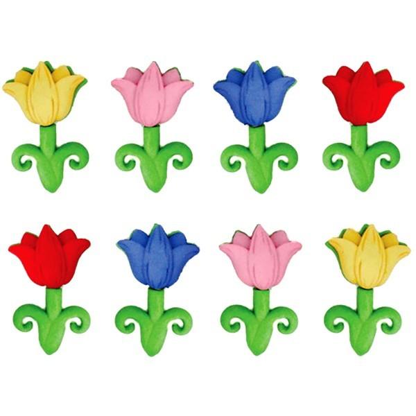 Пуговицы декоративные Dress It Up Апрельские цветы, 8 шт. 77022817702281Набор Dress It Up Апрельские цветы состоит из 8 декоративных разноцветных пуговиц, изготовленных из пластика, с помощью которых вы сможете украсить открытку, фотографию, альбом, одежду, подарок и другие предметы ручной работы. Все пуговицы в наборе имеют оригинальный и яркий дизайн.