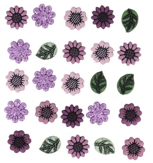 Пуговицы декоративные Dress It Up Цветы, 18 шт. 77022867702286Набор Dress It Up Цветы состоит из 18 декоративных пуговиц, выполненных из пластика в форме цветов и листьев. Часть цветов декорирована блестками. Такие пуговицы подходят для любых видов творчества: скрапбукинга, декорирования, шитья, изготовления кукол, а также для оформления одежды. С их помощью вы сможете украсить открытку, фотографию, альбом, подарок и другие предметы ручной работы. Пуговицы разных цветов имеют оригинальный и яркий дизайн.