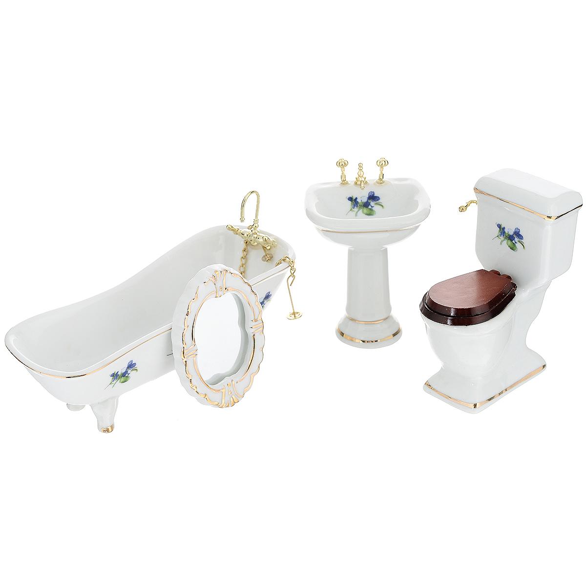 Миниатюра кукольная Art of Mini Набор фарфоровой сантехники, 4 предметаAM0100012Миниатюра кукольная Art of Mini Набор фарфоровой сантехники изготовлена из фарфора белого цвета с цветочным узором в масштабе 1:12. Набор состоит из 4 предметов: ванны, унитаза, раковины и зеркала. Такая миниатюра прекрасно подойдет для украшения кукольных домиков, а также для оформления работ в самых различных техниках. С ее помощью можно обставлять румбокс. Можно использовать в шэдоубоксах или просто как изысканные украшения для скрап-работ. Размеры ванны: 13 см х 5 см х 4,5 см. Размер унитаза: 6 см х 3,5 см х 8 см. Размер раковины: 5 см х 4,5 см х 7,5 см. Размер зеркала: 6 см х 4,5 см х 0,5 см.