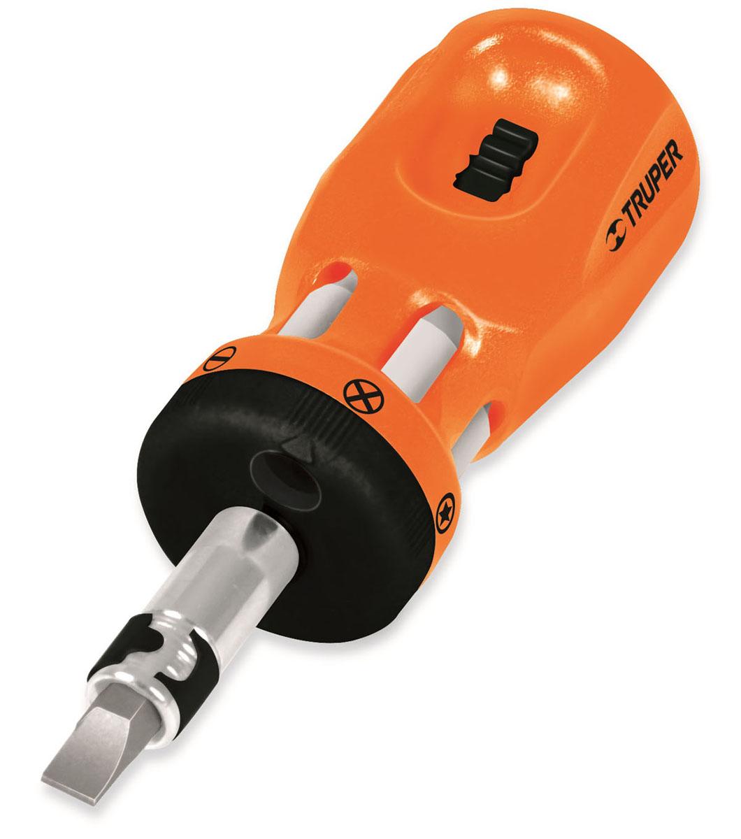 Миниотвертка с храповым механизмом Truper, 6 битDTROM-12Отвертка с битами Truper предназначена для монтажа/демонтажа резьбовых соединений с применением значительных усилий. В комплект входит 6 двухсторонних бит, изготовленных из хром-ванадиевой стали. Отвертка оснащена храповым механизмом. Рукоятка имеет удобное хранилище для бит. В набор входят плоские, крестовые и биты Torx.