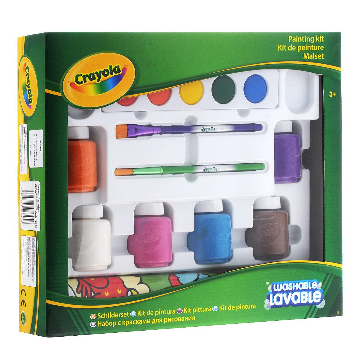 Набор с красками для рисования Crayola12645Набор красок для рисования Crayola идеально подойдет для детского художественного творчества, изобразительных и оформительских работ. В набор входят 6 пластиковых баночек со смываемой гуашью (оранжевого, белого, розового, голубого, коричневого и фиолетового цветов), 2 кисточки с наконечниками из натурального ворса, планка с акварельными красками 5 цветов (синего, зеленого, желтого, оранжевого и красного) и коврик для рисования, оформленный изображением забавных животных. Акварельные краски Crayola помогут вам добиться максимально ярких цветов, не теряющих своего цвета даже при разведении водой. Гуашь Crayola рекомендуется использовать для рисования на сложных поверхностях - плакатах, папье-маше, дереве, картоне. Краска не растекается, хорошо и равномерно ложится. В их составе только экологически чистые, не токсичные и не вызывающие аллергии красители, которые не раздражают нежную детскую кожу при случайном попадании. Они легко смываются с рук и одежды с помощью воды и мыла. ...