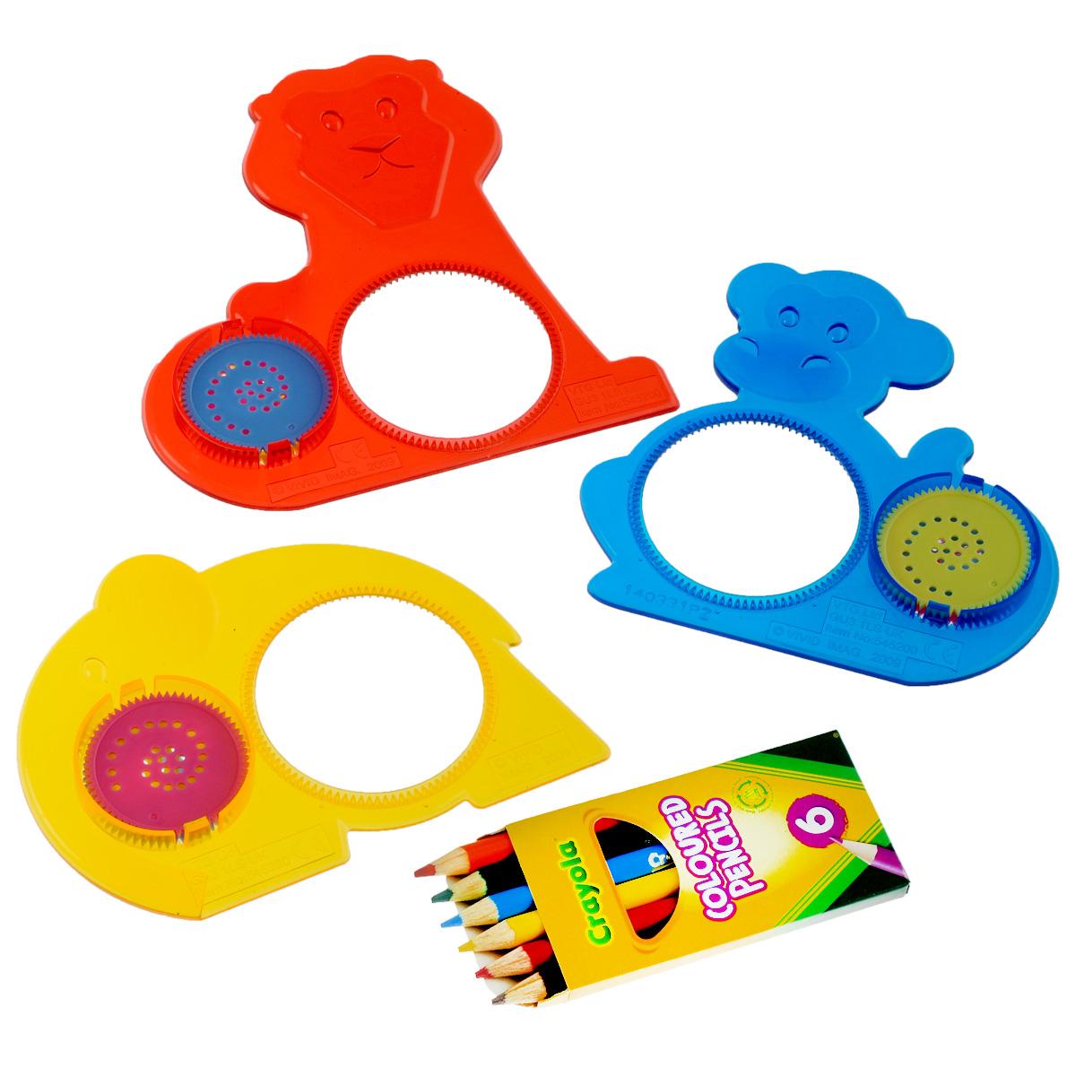 Набор трафаретов Crayola Животный мир, с карандашами5452Набор для творчества станет отличным подарком для четырехлетнего малыша. Внутри красивой коробки ребенок найдет три трафарета с наверняка известными ему животными – обезьяной, слоном и собакой. Каждый трафарет содержит три диска. Кроме того, в наборе имеются яркие карандаши, рисовать которыми легко – толщина карандаша выбрана с учетом размера маленькой ручки. Если вы сразу не разберетесь, как именно использовать набор, стоит обратиться к инструкции – она поможет вам создать шедевры, которые займут достойное место на стене или на столе ваших родителей.