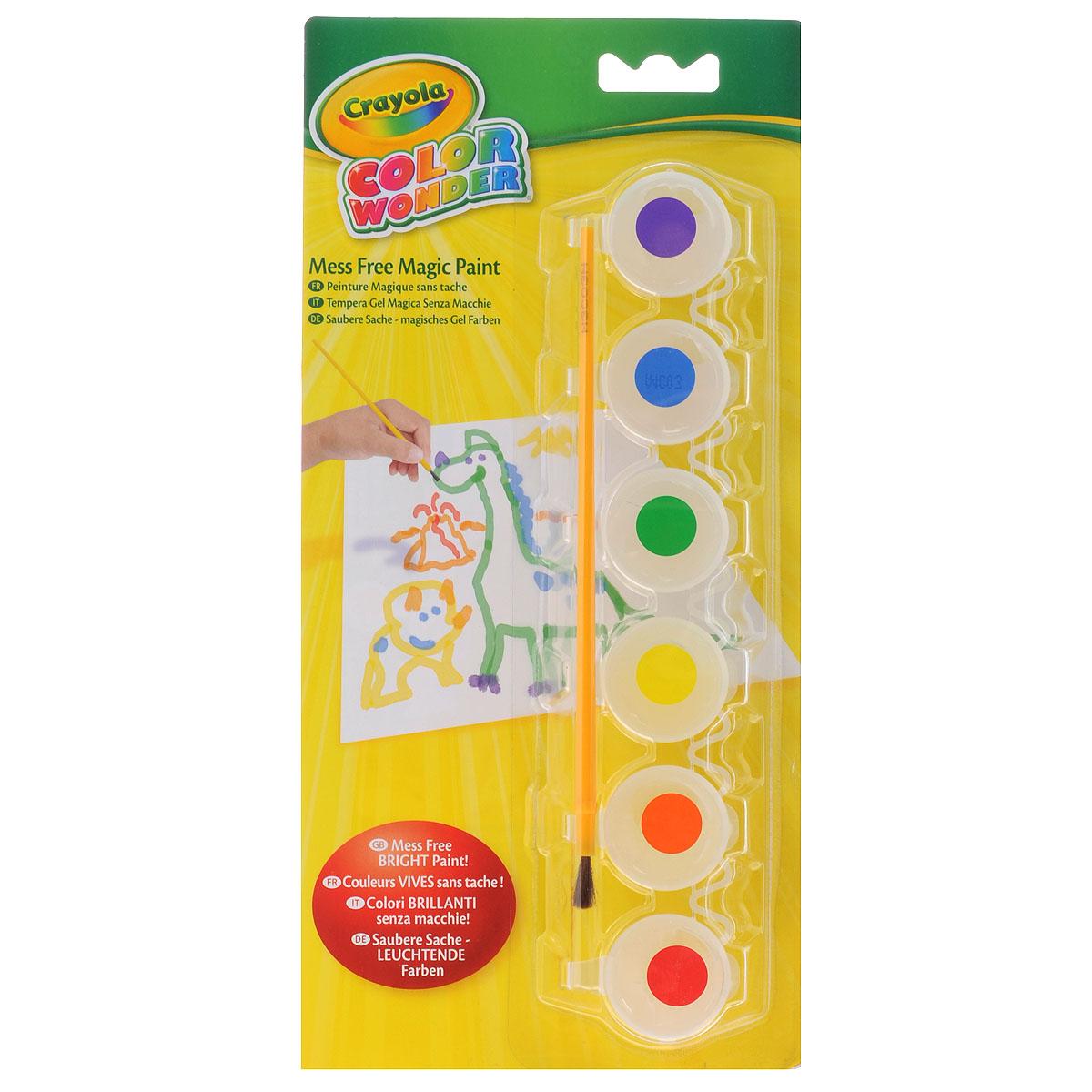 Краски Crayola Color Wonder, 6 цветов75-0220Детское творчество - это по-настоящему волшебный и чудесный процесс. Сделайте его еще более необыкновенным вместе с красками Color Wonder. Этими красками можно рисовать повсюду, но следы они оставят только на специальной бумаге. Не беда, если малыш вооружится кисточкой с краской и решит опробовать свои силы на обоях или ковре - они не будут испорчены. Не испачкается ни сам малыш, ни его одежда, ни рабочее место: краска проявляется только на специальной бумаге Color Wonder. В набор входят краски 6 ярких цветов (фиолетовая, синяя, зеленая, желтая, оранжевая, красная) и удобная пластиковая кисточка. Краска каждого цвета хранится в отдельной пластиковой баночке с плотно закрывающейся крышкой. В процессе рисования у детей развивается наглядно-образное мышление, воображение, мелкая моторика рук, творческие и художественные способности, вырабатывается усидчивость и аккуратность.