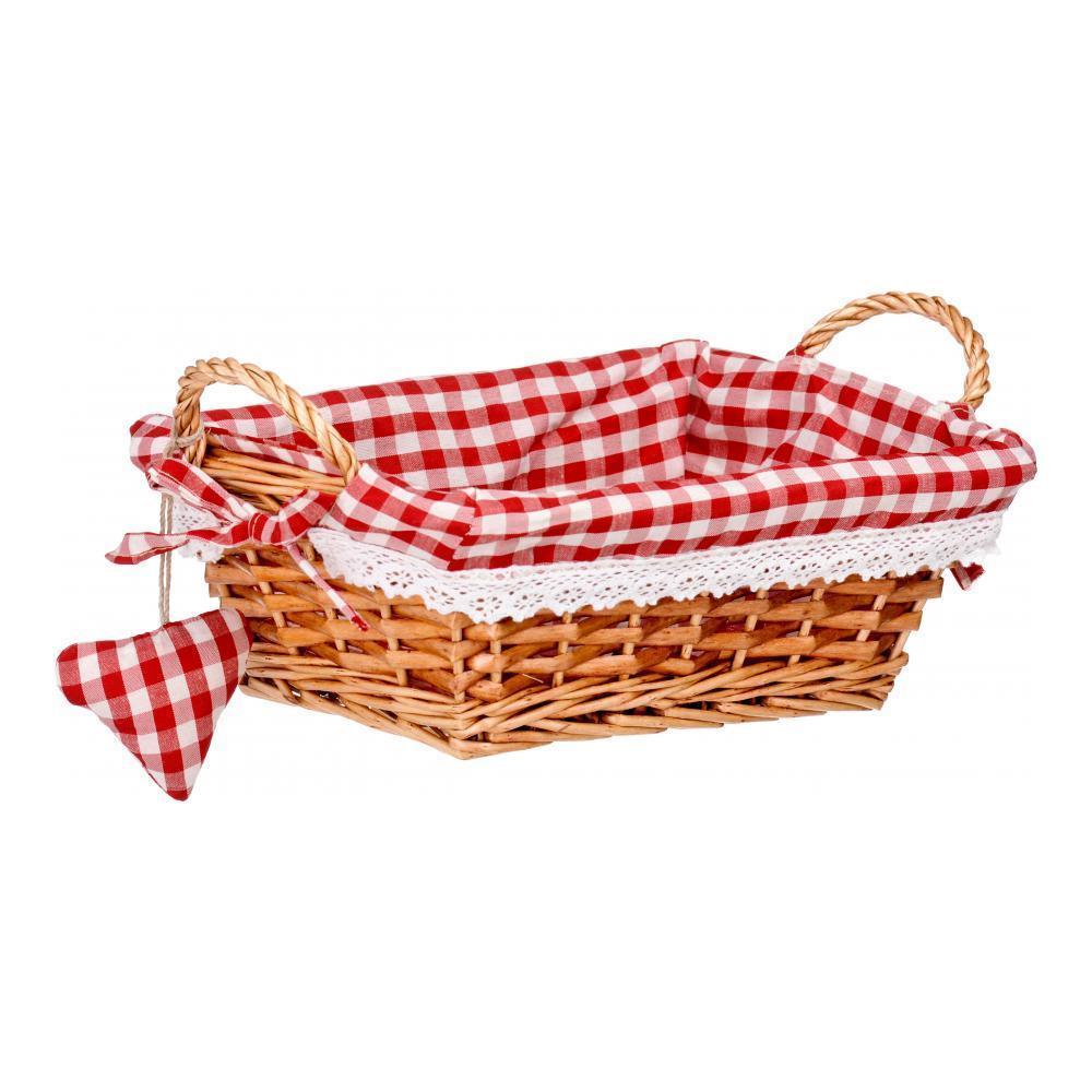 Корзинка для хлеба Premier, прямоугольная, цвет: красный, 25 х 18 х 13 см1901050Прямоугольная корзинка для хлеба Premier сплетена из лозы. На внутреннюю поверхность корзинки надет хлопковый чехол с рисунком в красную клетку, благодаря ему крошки не просыпаются на стол. Корзинка оснащена двумя удобными ручками и украшена текстильной подвеской в виде сердечка. В холодный зимний день приятная цветовая гамма корзинки в сочетании с оригинальным дизайном навевают воспоминания о лете, тем самым способствуя улучшению настроения и полноценному отдыху.