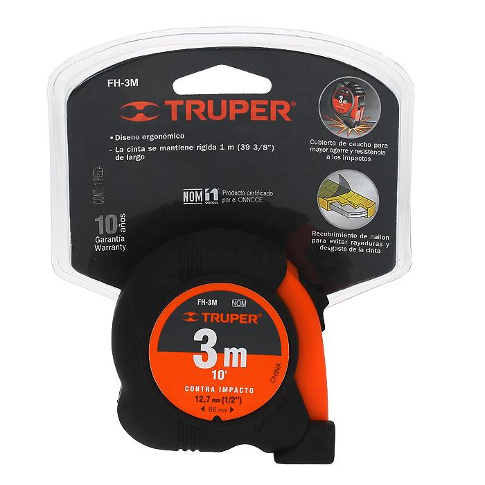 Рулетка Truper, 3 м х 12,7 ммFH-3MИзмерительная рулетка Truper оснащена прорезиненным чехлом, который надежно защищает корпус при падении. Стопорный механизм с паузой позволяет быстро и точно производить измерения. Для удобства работы корпус снабжен стальной клипсой для крепления на пояс. Рулетка удобна тем, что на конце измерительной ленты имеется специальный порожек, который можно закрепить за край измеряемого предмета. Это позволяет одному человеку воспользоваться этим измерительным инструментом и измерить предмет. Ширина ленты: 1,27 см.