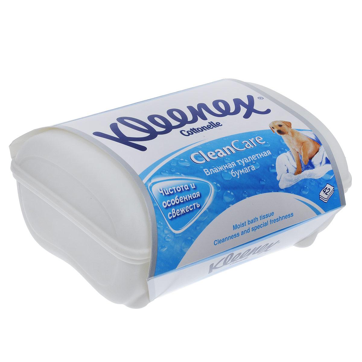 Kleenex Туалетная бумага Clean Care, влажная, в пластиковой коробке, 42 шт26083635Влажная туалетная бумага обеспечит вам повышенный уровень чистоты, гигиены и удобства дома, в офисе, на отдыхе, в дороге. Используйте после обычной туалетной бумаги для ощущения чистоты и свежести. Товар сертифицирован.