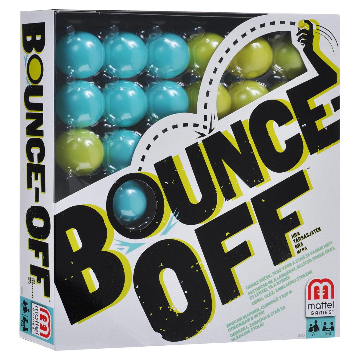 Mattel Games Настольная игра Bounce OffCBJ83Настольная игра Mattel Games Bounce Off - оригинальная соревновательная игра для всех возрастов! Выберите наугад любую карточку, чтобы определить узор. Затем заполните шариками решетку в соответствии с выпавшим узором. Для этого нужно бросить в игровой поддон шарик, следя за тем, чтобы он отскочил минимум один раз прежде, чем попасть в поддон. Выигрывает тот, кто первым завершит узор; он оставляет карточку с узором у себя. Победителем становится игрок, первым собравший три карточки. В комплект игры входят: 16 шариков, 4 поддона для шариков, игровой поддон, 9 карточек с узорами и правила игры на русском языке.