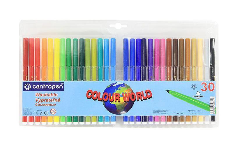 Набор смываемых фломастеров Colour World, 30 цветов7550/30 TPОт производителя Цветные смываемые фломастерыColour World для письма и рисования с вентилируемым колпачком и треугольной зоной захвата. Фломастеры легко смываются с рук даже холодной водой и очень легко отстирываются. Корпус выполнен из полипропилена, поэтому фломастеры сохраняют свои свойства, не высыхая, минимум 3 года. Диаметр острия 2 мм. В наборе 30 ярких цветов. Характеристики: Длина фломастера: 15 см. Размер упаковки: 35 см х 19 см х 1 см.