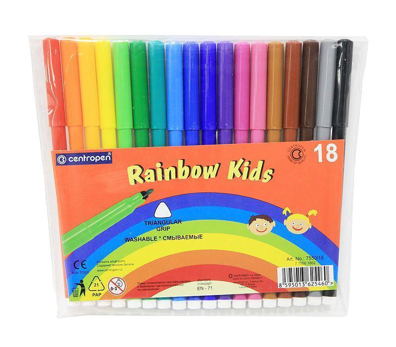 Набор смываемых фломастеров Rainbow Kids, 18 цветов7550/18От производителя Цветные смываемые фломастерыRainbow Kids для письма и рисования с вентилируемым колпачком и треугольной зоной захвата. Фломастеры легко смываются с рук даже холодной водой и очень легко отстирываются. Корпус выполнен из полипропилена, поэтому фломастеры сохраняют свои свойства, не высыхая, минимум 3 года. Диаметр острия 2 мм. В наборе 18 ярких цветов.