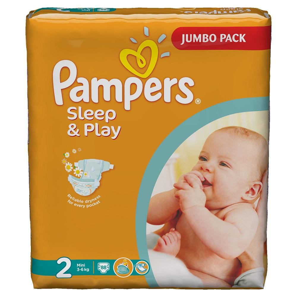 Pampers Sleep & Play Подгузники 2, 3-6 кг, 88 штPA-81448282Надежная защита каждому по карману! Чтобы малыш правильно развивался, был счастливым и полным сил, ему необходимы забота и комфорт днем и ночью. Pampers Sleep&Play заботятся о сухости и здоровье кожи малыша. Подгузники Pampers Sleep&Play – это выгодное сочетание цены и качества. Они продаются по приемлемой цене и доступны семье с любым бюджетом. Sleep&Play дарит малышу спокойный сон ночью и веселые игры днем. - Сухость Pampers по выгодной цене - Двойной впитывающий слой, сохраняющий кожу малыша сухой до 9 часов - Двойные манжетики по бокам, защищающие от протеканий