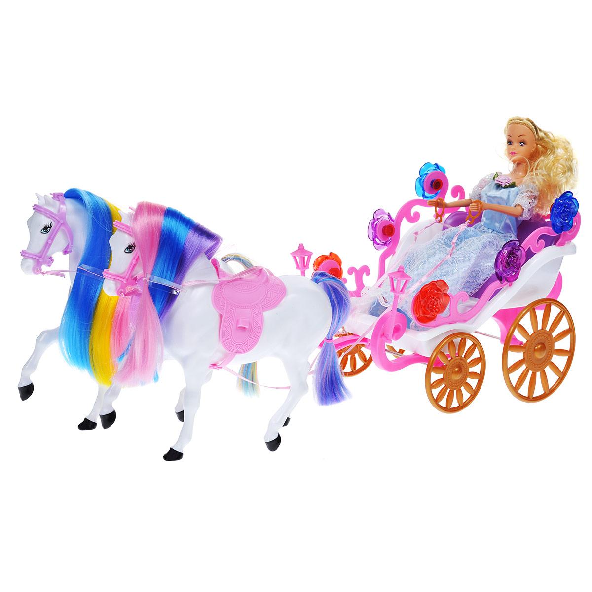 WSBD World Игровой набор с куклой Horses&Carriage1112Этот игровой набор позволит вашей малышке окунуться в сказочный мир. В него входит повозка, оформленная декоративными элементами, две лошадки, очаровательная куколка, пара туфелек и аксессуары для игры: расческа, гребешок и зеркальце с ручкой. У лошадок длинные цветные гривы и хвосты. Куколка со светлыми волосами одета в великолепное нежно-голубое платье. Порадуйте вашего ребенка таким замечательным подарком!