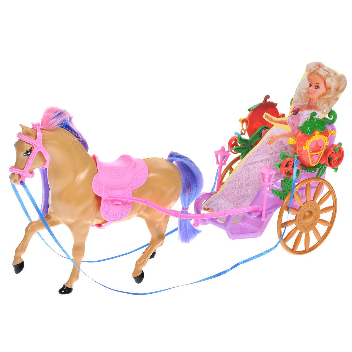 WSBD World Транспорт для кукол Лошадь с повозкой1405Этот игровой набор позволит вашей малышке окунуться в сказочный мир. В него входит повозка, оформленная декоративными элементами, лошадь с длинными цветными гривой и хвостом, картонный муляж куклы и аксессуары для игры: расческа, гребешок и зеркальце с ручкой. Порадуйте вашего ребенка таким замечательным подарком! Кукла в комплект не входит.
