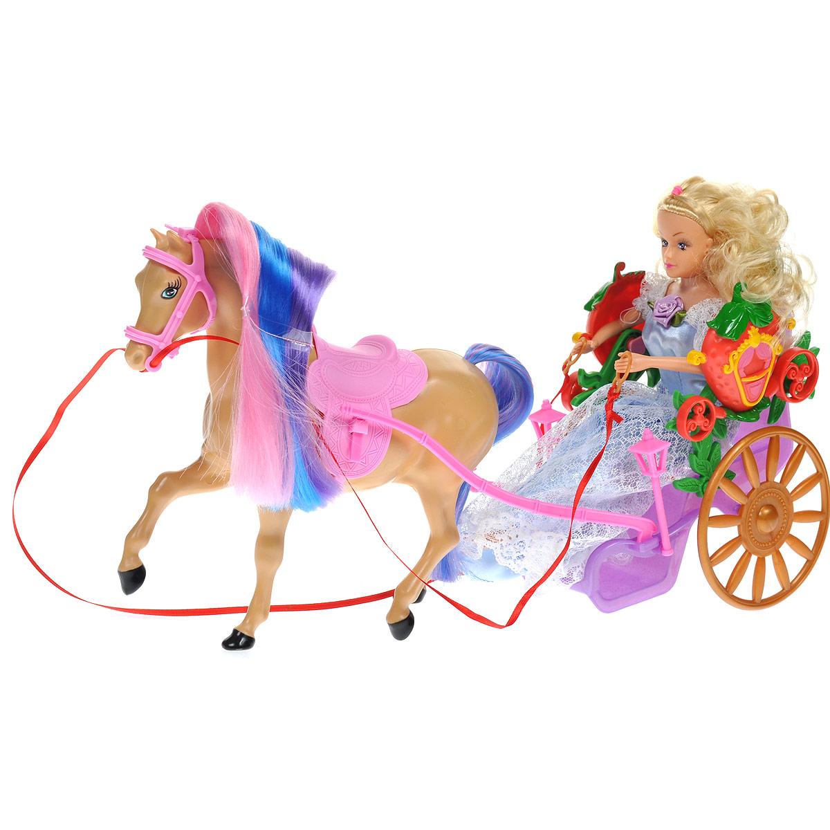 WSBD World Игровой набор с куклой Лошадь с повозкой и куклой1406Этот игровой набор позволит вашей малышке окунуться в сказочный мир. В него входит повозка, оформленная декоративными элементами, лошадь, очаровательная куколка и аксессуары для игры: расческа, гребешок и зеркальце с ручкой. У лошадки длинные цветные грива и хвост. Куколка со светлыми волосами одета в великолепное нежно-голубое платье. Порадуйте вашего ребенка таким замечательным подарком!