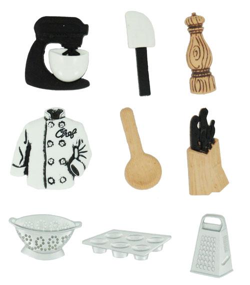 Пуговицы декоративные Dress It Up Мастер-шеф, 9 шт. 77023357702335Набор Dress It Up Мастер-шеф состоит из 9 декоративных пуговиц, выполненных из пластика в форме вещей, которые необходимы шеф-повару на кухне. Такие пуговицы подходят для любых видов творчества: скрапбукинга, декорирования, шитья, изготовления кукол, а также для оформления одежды. С их помощью вы сможете украсить открытку, фотографию, альбом, подарок и другие предметы ручной работы. Пуговицы разных цветов имеют оригинальный и яркий дизайн.