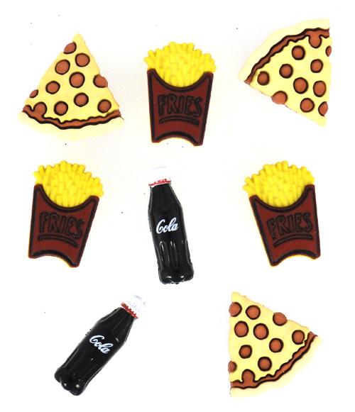 Набор пуговиц и фигурок Dress It Up Пицца Fries Soda, 8 шт. 77023387702338