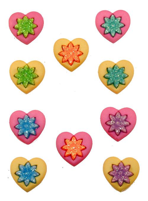 Пуговицы декоративные Dress It Up Сердца, 8 шт. 77023427702342Набор Dress It Up Сердца состоит из 8 декоративных пуговиц, выполненных из пластика в форме сердец. Такие пуговицы подходят для любых видов творчества: скрапбукинга, декорирования, шитья, изготовления кукол, а также для оформления одежды. С их помощью вы сможете украсить открытку, фотографию, альбом, подарок и другие предметы ручной работы.