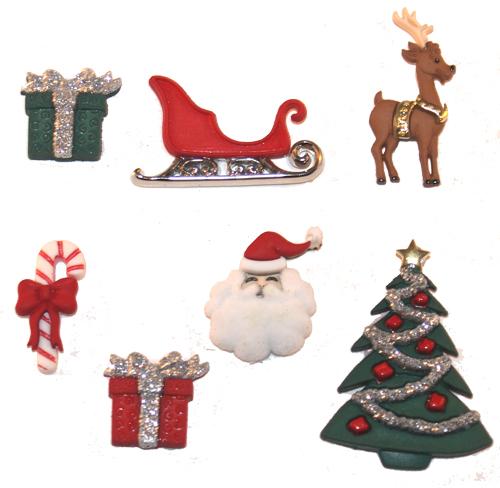 Пуговицы декоративные Dress It Up Канун Рождества, 7 шт. 77024437702443Набор Dress It Up Канун Рождества состоит из 7 декоративных разноцветных пуговиц, изготовленных из пластика, с помощью которых вы сможете украсить открытку, фотографию, альбом, одежду, подарок и другие предметы ручной работы. Все пуговицы в наборе имеют оригинальный и яркий дизайн.