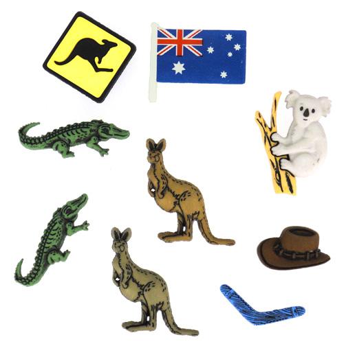 Набор пуговиц и фигурок Dress It Up Австралия, 9 шт. 77040687704068Набор Dress It Up Австралия состоит из 9 декоративных пуговиц и фигурок, выполненных из пластика в форме вещей, с которыми ассоциируется Австралия. Такие пуговицы и фигурки подходят для любых видов творчества: скрапбукинга, декорирования, шитья, изготовления кукол, а также для оформления одежды. С их помощью вы сможете украсить открытку, фотографию, альбом, подарок и другие предметы ручной работы. Пуговицы и фигурки разных цветов имеют оригинальный и яркий дизайн.