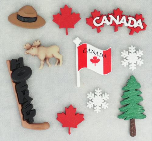 Набор пуговиц и фигурок Dress It Up Канада, 10 шт. 77040877704087Набор Dress It Up Канада состоит из 10 декоративных разноцветных пуговиц и фигурок, изготовленных из пластика, с помощью которых вы сможете украсить открытку, фотографию, альбом, одежду, подарок и другие предметы ручной работы. Все предметы в наборе имеют оригинальный и яркий дизайн.
