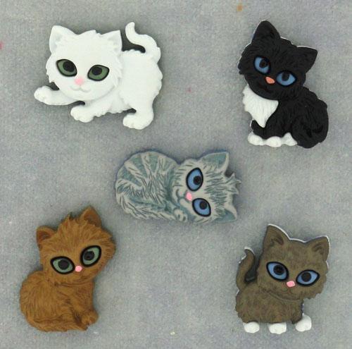 Пуговицы декоративные Dress It Up Забавные коты, 5 шт7704572Набор Dress It Up Забавные коты состоит из 5 пуговиц, выполненных из пластика в виде котят. Такие изделия подходят для любых видов творчества: скрапбукинга, декорирования, шитья, изготовления кукол, а также для оформления одежды. С их помощью вы сможете украсить открытку, фотографию, альбом, подарок и другие предметы ручной работы.
