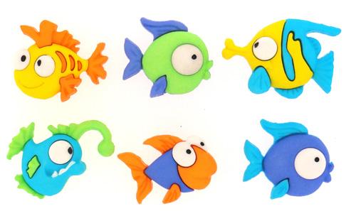 Пуговицы декоративные Dress It Up Забавные рыбки, 4 шт7704580Набор Dress It Up Забавные рыбки состоит из 4 пуговиц, выполненных из пластика в виде различных рыбок. Такие изделия подходят для любых видов творчества: скрапбукинга, декорирования, шитья, изготовления кукол, а также для оформления одежды. С их помощью вы сможете украсить открытку, фотографию, альбом, подарок и другие предметы ручной работы.