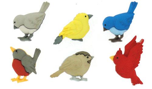 Пуговицы декоративные Dress it up Пернатые друзья, 6 шт7704581Набор Dress It Up Пернатые друзья состоит из 6 декоративных пуговиц, выполненных из пластика в форме птиц. Такие пуговицы подходят для любых видов творчества: скрапбукинга, декорирования, шитья, изготовления кукол, а также для оформления одежды. С их помощью вы сможете украсить открытку, фотографию, альбом, подарок и другие предметы ручной работы. Пуговицы разных цветов имеют оригинальный и яркий дизайн.