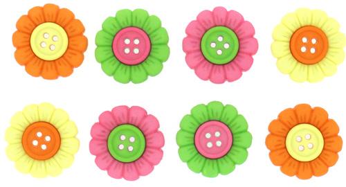 Пуговицы декоративные Dress It Up Цветочки, 8 шт. 77046017704601Набор Dress It Up Цветочки состоит из 8 декоративных пуговиц, выполненных из пластика. Такие пуговицы подходят для любых видов творчества: скрапбукинга, декорирования, шитья, изготовления кукол, а также для оформления одежды. С их помощью вы сможете украсить открытку, фотографию, альбом, подарок и другие предметы ручной работы. Пуговицы разных цветов имеют оригинальный и яркий дизайн.