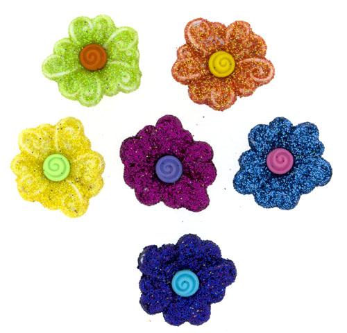 Пуговицы декоративные Dress It Up Цветы, 6 шт. 77063367706336Набор Dress It Up Цветы состоит из 6 декоративных пуговиц, выполненных из пластика в форме цветков. Пуговицы украшены блестками. Такие пуговицы подходят для любых видов творчества: скрапбукинга, декорирования, шитья, изготовления кукол, а также для оформления одежды. С их помощью вы сможете украсить открытку, фотографию, альбом, подарок и другие предметы ручной работы. Пуговицы разных цветов имеют оригинальный и яркий дизайн.