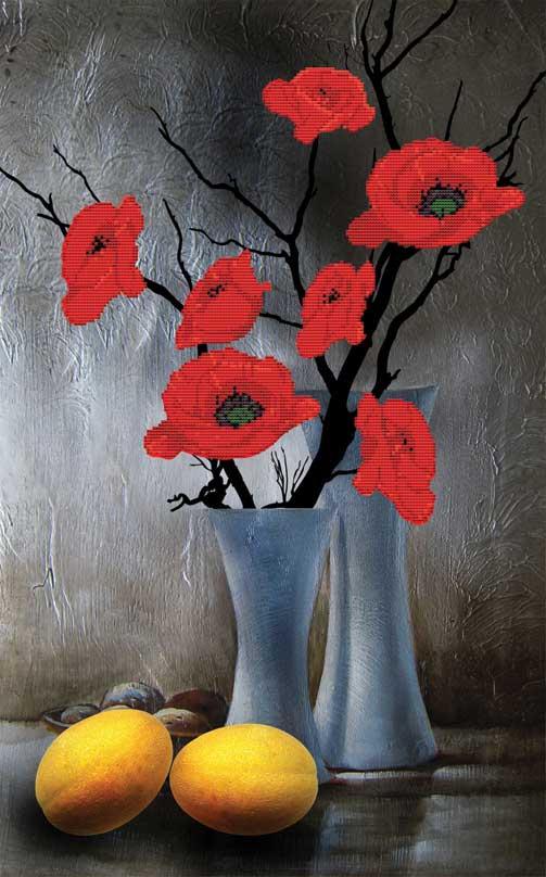 Набор для вышивания крестом Натюрморт Фантазия, частичная вышивка, 46 х 66 см7059-3D Натюрморт Фантазия