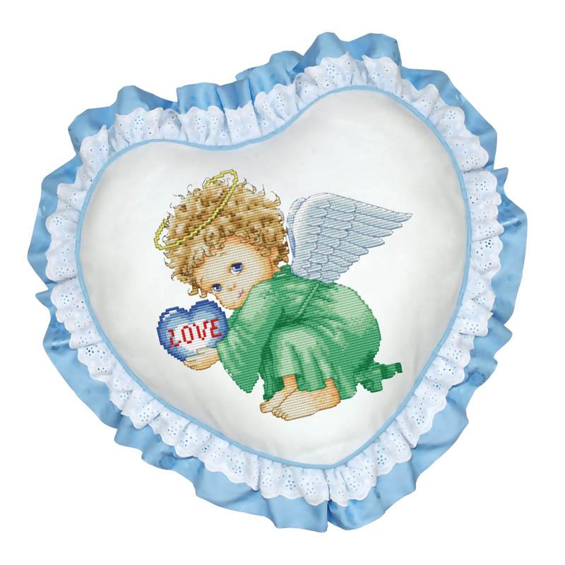 Набор для вышивания подушки Милый ангел, цвет: голубой, 45 см х 45 смПодушка 501 Милый ангел (рюшка голубая)