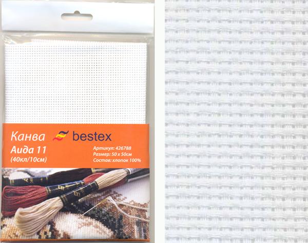 Канва для вышивания Bestex Aida 11, цвет: белый, 50 см х 50 см. 426788426788Канва Bestex Aida 11 для вышивания изготовлена из 100% хлопка. Применяется как основа или трафарет для вышивания, иногда используется в качестве прокладочного материала в одежде. Канва отличного качества, при стирке не деформируется. Создайте свой личный шедевр - красивую картину, вышитую на канве. Работа, выполненная своими руками, станет отличным подарком для друзей и близких!