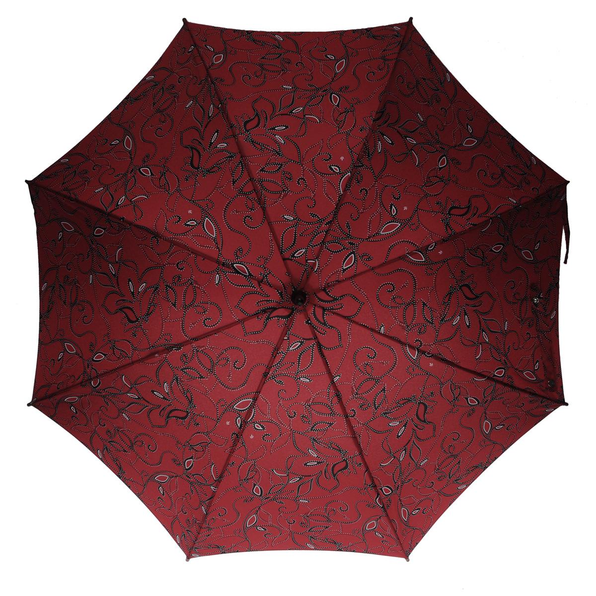 """Зонт-трость женский Fulton, механический, цвет: бордовый. L056L056Модный механический зонт-трость """"Fulton"""" даже в ненастную погоду позволит вам оставаться стильной и элегантной. Облегченный каркас зонта состоит из 8 спиц из фибергласса и деревянного стержня. Купол зонта выполнен из прочного полиэстера и оформлен витиеватым цветочным узором, дополненным белым крапом. Изделие оснащено удобной рукояткой из дерева. Зонт механического сложения: купол открывается и закрывается вручную до характерного щелчка. Модель закрывается при помощи двух ремней с кнопками. Такой зонт не только надежно защитит вас от дождя, но и станет стильным аксессуаром, который идеально подчеркнет ваш неповторимый образ."""