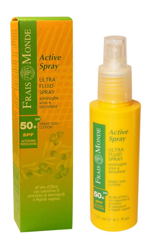 Frais Monde Ультралегкая эмульсия-спрей для лица и зоны декольте, предотвращающая старение кожи, для чувствительной кожи, SPF 50+,