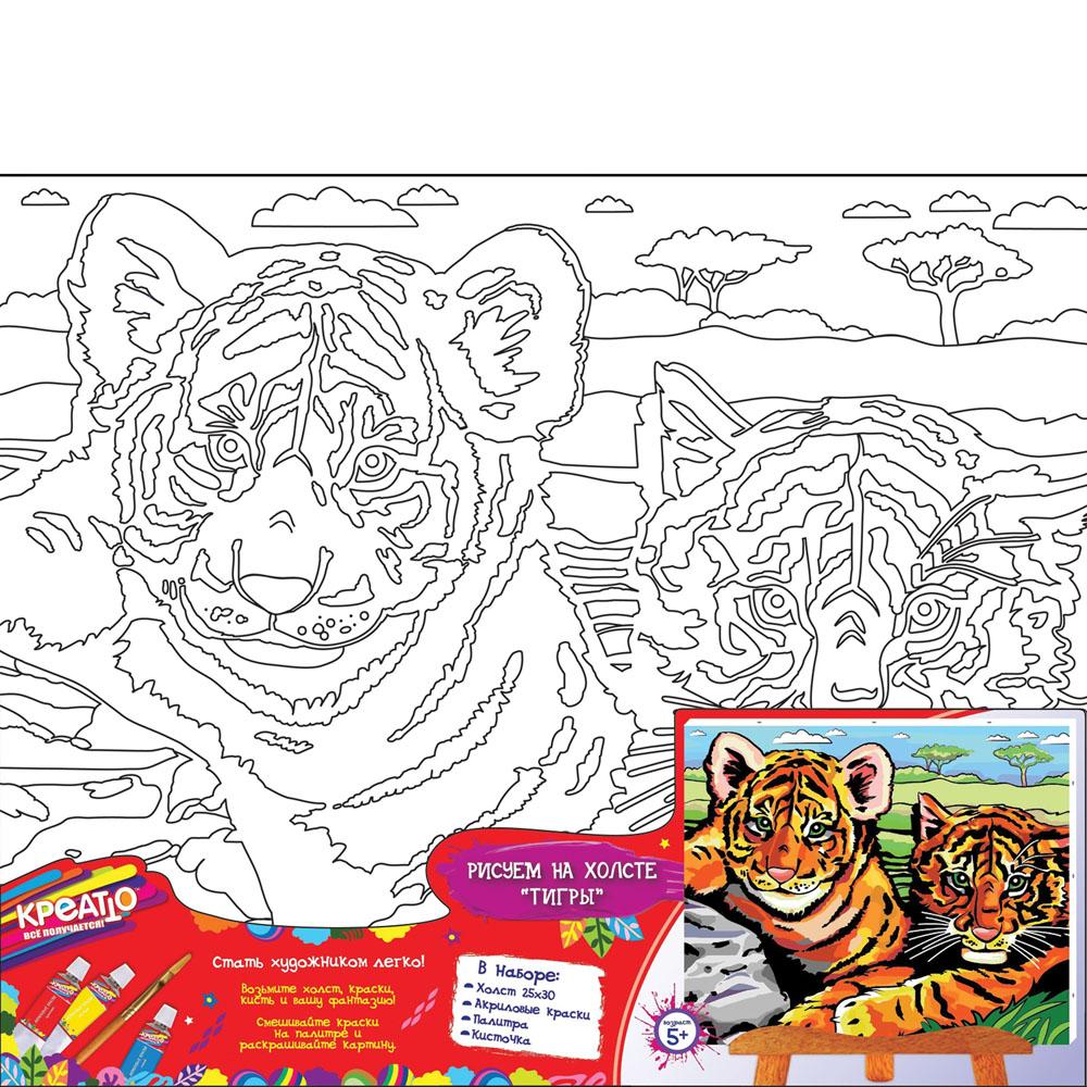 Набор для росписи по холсту Креатто Тигры, 30 см х 25 см23915Набор для росписи по холсту Креатто Тигры позволит вашему ребенку создать яркую картину с крупным изображением тигров. В набор входит все необходимое: холст с контуром картины, закрепленный на деревянной рамке, шесть тюбиков с акриловой краской разных цветов, палитра и две кисти №2 и №3. Яркие акриловые краски легко ложатся на поверхность холста. Для получения нужных оттенков можно смешать цвета, а для создания прозрачности нужно разбавить краски водой. Картинку можно раскрашивать в несколько слоев, нанося новый цвет на подсохшую поверхность. Такая картина станет превосходным украшением интерьера детской комнаты и оригинальным подарком близким и друзьям. Работа с кистью подарит юному мастеру возможность почувствовать себя настоящим живописцем. Такое увлекательное занятие формирует художественный вкус, совершенствует творческое мышление, развивает цветовосприятие, тренирует мелкую моторику рук.