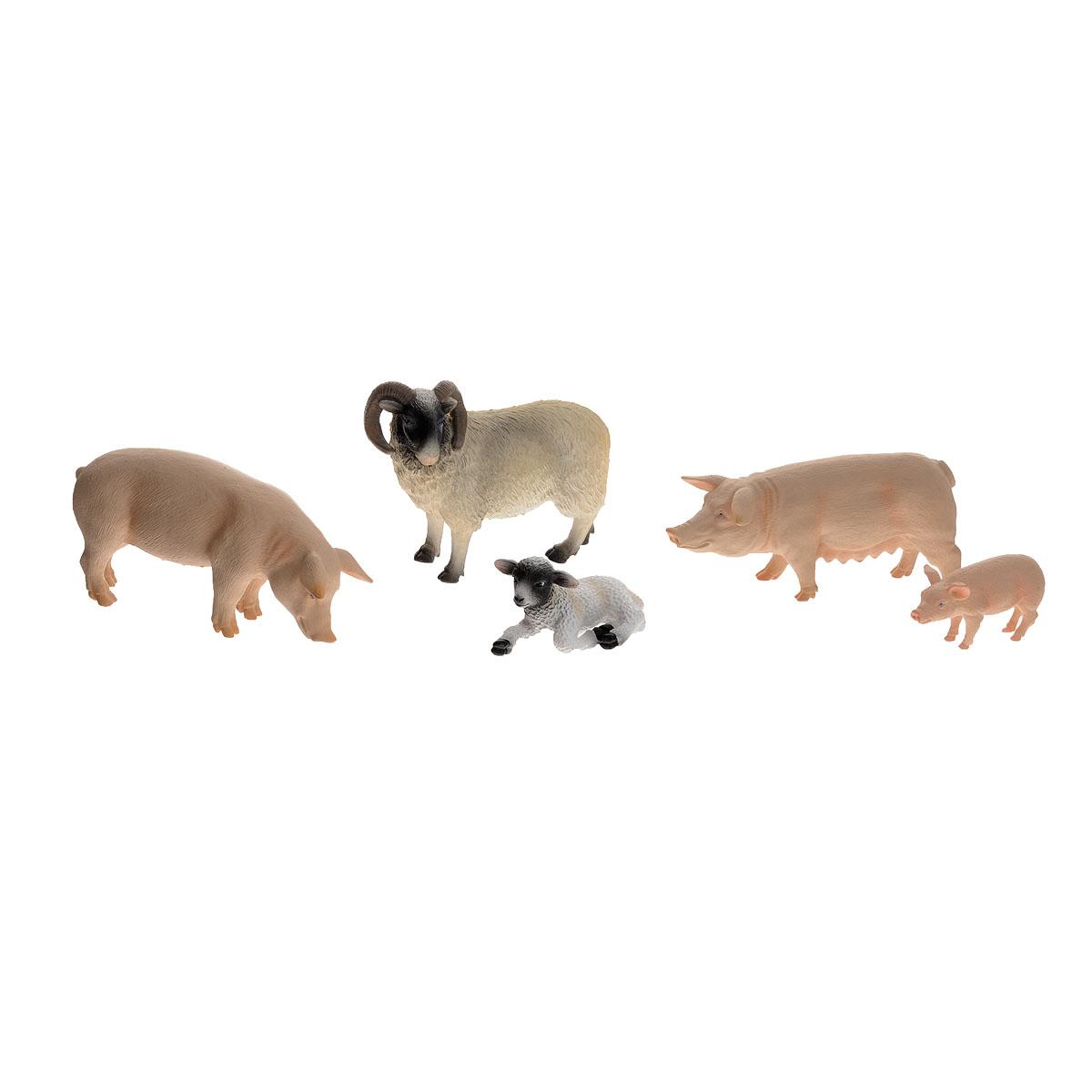Набор фигурок Mojo Ферма, 5 шт. 387309387309Набор фигурок Mojo Ферма познакомят вашего ребенка с окружающим миром. В набор входят пять фигурок: баран, овечка, кабан, свинья и поросенок, которые имеют высокую степень сходства с настоящими животными фермы и очень высокую детализацию, что позволяет использовать фигурки не только как игровые, но и как коллекционные. Кроме того, фигурки можно использовать в качестве наглядного пособия при изучении животного мира. Фигурки изготовлены из полимерного материала, не токсичны и не вызывают аллергию.
