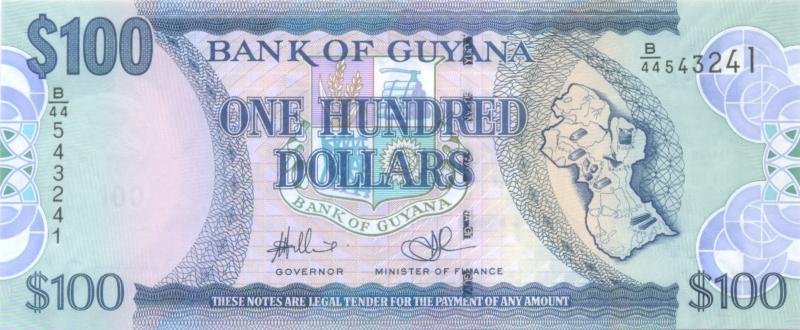 Банкнота номиналом 100 долларов. Гайана. 2009 год1806-1808**Банкнота номиналом 100 долларов. Гайана. 2009 год. Размер 15,7 х 6,5 см. Сохранность очень хорошая.