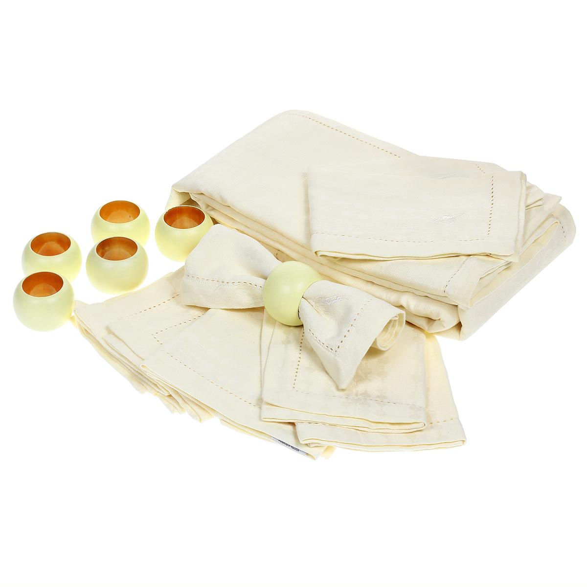 Набор для кухни Julia Vysotskaya, цвет: слоновая кость, 13 предметов2014-74Набор для кухни Julia Vysotskaya состоит из 13 предметов: скатерть, 6 салфеток. 6 колец для салфеток. Скатерть и салфетки выполнены из жаккарда, кольца для салфеток - из дерева. Изделия из жаккарда уже давно стали известны всему миру не только своей прочностью и износостойкостью, но и элегантным, благородным внешним видом. Такой материал прослужит Вам не один десяток лет. Изделия имеют тефлоновое покрытие, можно поставить даже раскаленную сковороду и изделие останется целым. На всех изделиях коллекции есть не только логотип Julia Vysotskaya, но и сорока, которая является гербом поместья Юлии в Тоскане. Высочайшее качество материала гарантирует безопасность не только взрослых, но и самых маленьких членов семьи. С этим набором ваша кухня станет оригинальной и яркой Современный декоративный текстиль для дома должен быть экологически чистым продуктом и отличаться интересным и современным дизайном. Именно поэтому продукция Julia...