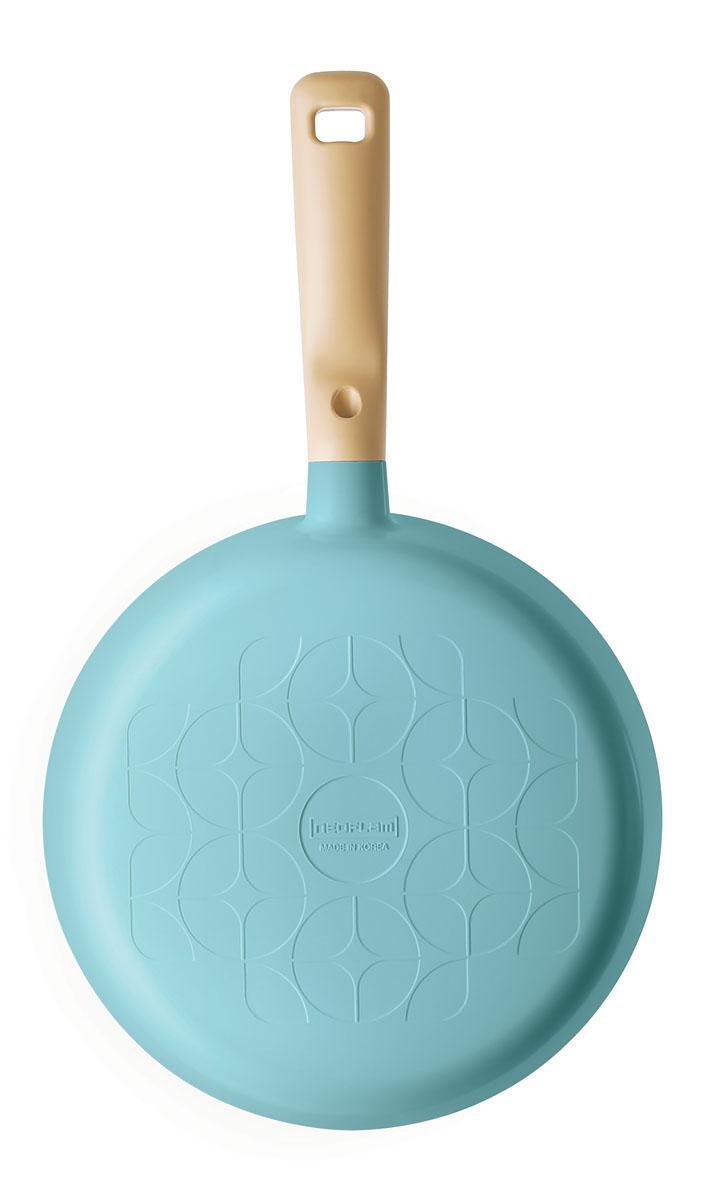 Сковорода Frybest Round, с керамическим покрытием, цвет: голубой. Диаметр 28 смROUND F28-B