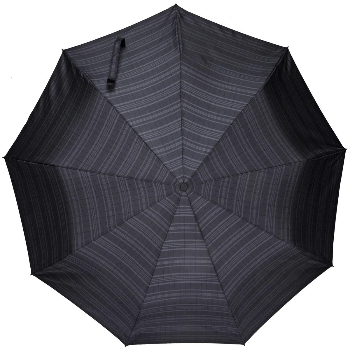 Зонт мужской Zest, автомат, 3 сложения, цвет: черный. 13943-513943-5Лаконичный автоматический зонт Zest в 3 сложения изготовлен из высокопрочных материалов. Каркас зонта состоит из 9 спиц из фибергласса и прочного алюминиевого стержня. Специальная система Windproof защищает его от поломок во время сильных порывов ветра. Купол зонта выполнен из прочного полиэстера с водоотталкивающей пропиткой и оформлен узором в клетку. Используемые высококачественные красители обеспечивают длительное сохранение свойств ткани купола. Рукоятка закругленной формы, разработанная с учетом требований эргономики, выполнена из пластика. Зонт имеет полный автоматический механизм сложения: купол открывается и закрывается нажатием кнопки на рукоятке, стержень складывается вручную до характерного щелчка. Благодаря этому открыть и закрыть зонт можно одной рукой, что чрезвычайно удобно при входе в транспорт или помещение. К зонту прилагается чехол. Такой зонт не только надежно защитит вас от дождя, но и станет стильным аксессуаром, который подчеркнет ваш...